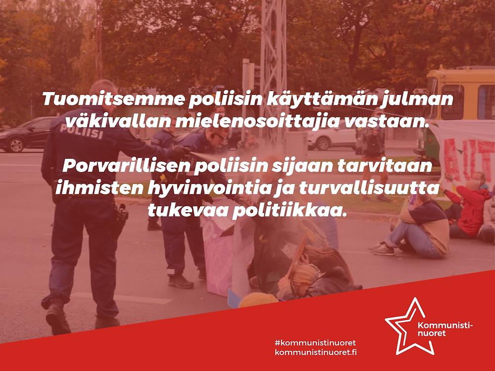 Bannerikuva: Kommunistinuoret tuomitsee poliisiväkivallan.