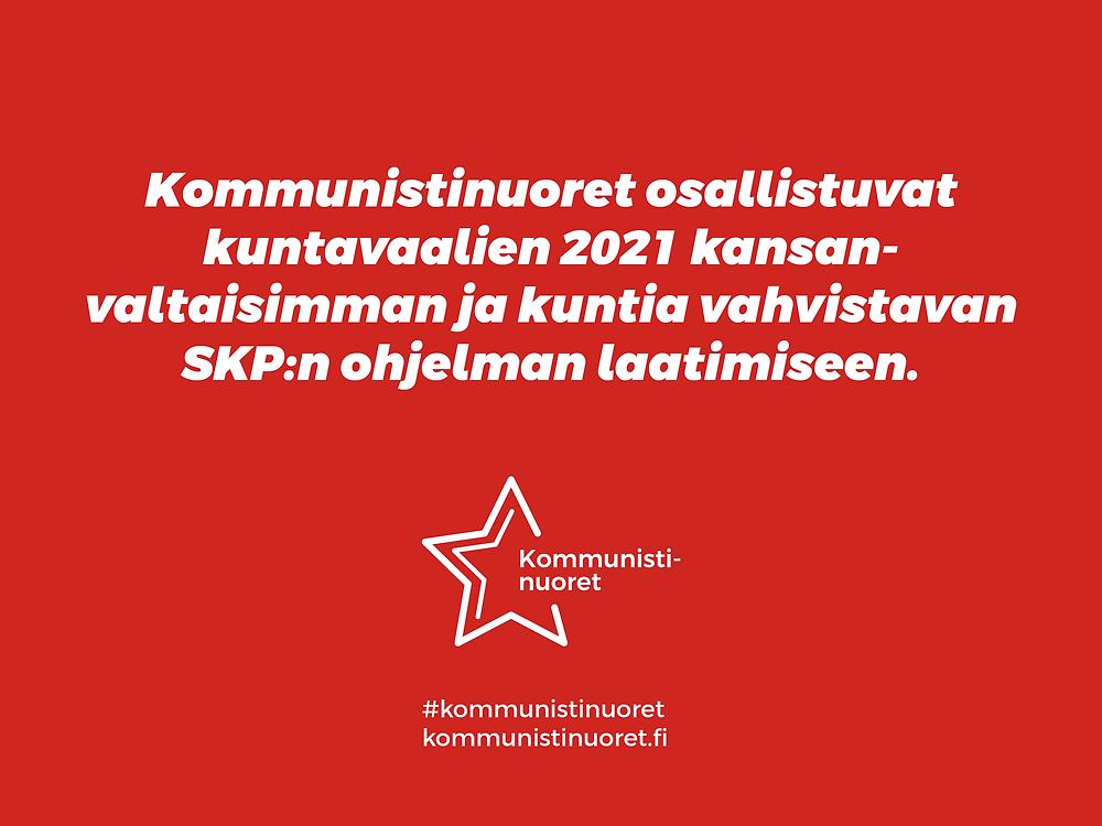 Kommunistinuoret osallistuu SKP:n kuntavaaliohjelman laatimiseen.