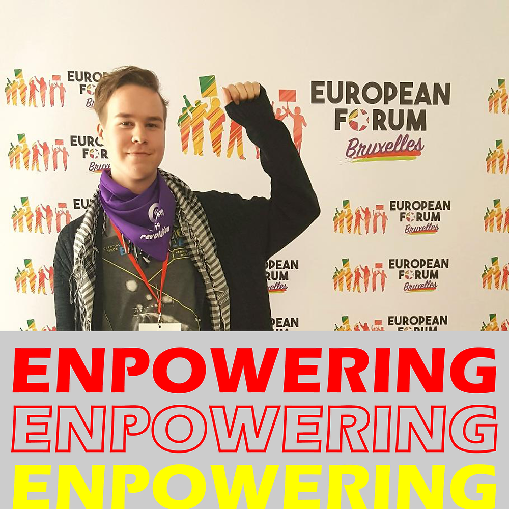 In the picture Chairperson of Communist Youth of Finland Jiri Mäntysalo and the text 'Enpowering'.