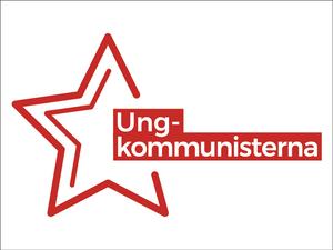 Ungkommunistenas logotyp på svenska. Kommunistinuorten logo ruotsiksi.