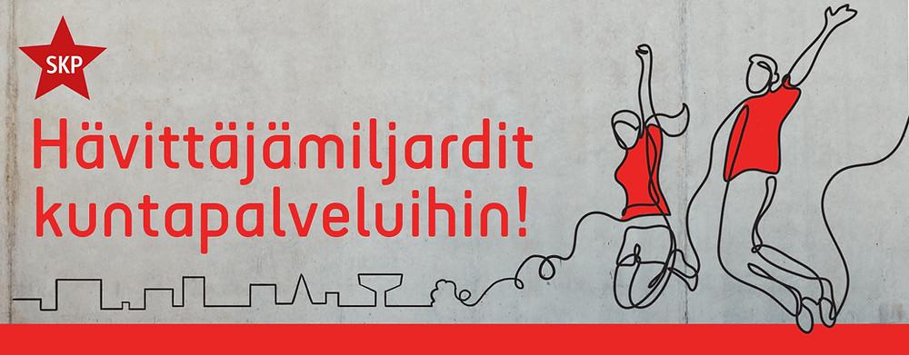 Bannerikuvassa teksti Hävittäjämiljardit kuntapalveluihin ja asukkaita piirroskuvassa.