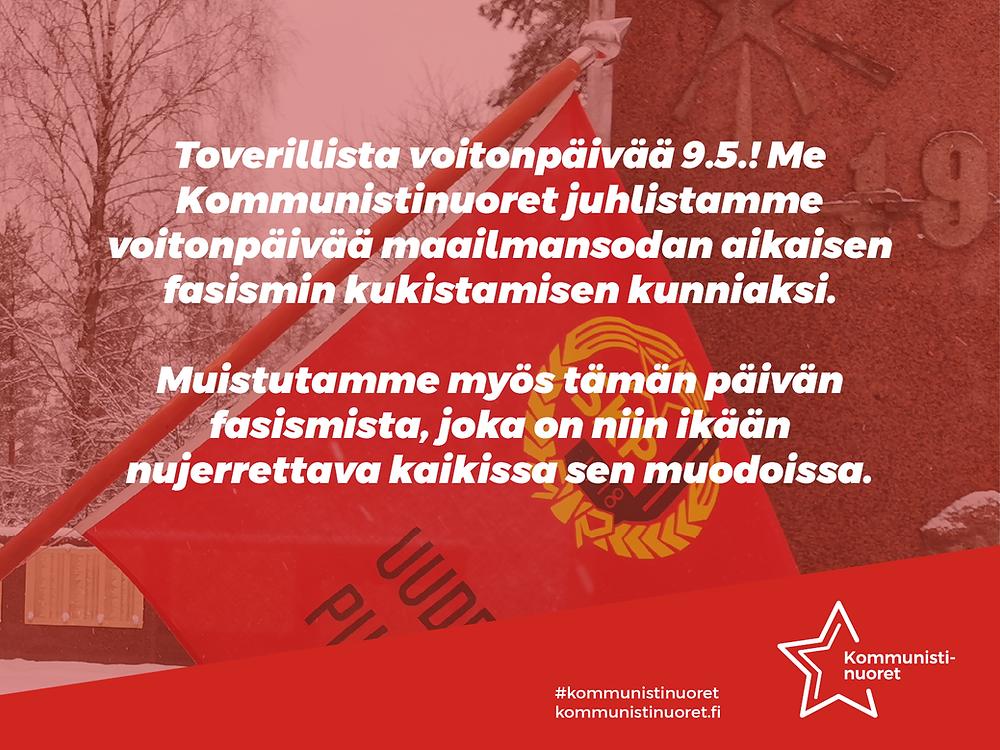 Bannerikuva: Kommunistinuoret toivottaa toverillista ja taistelevaa voitonpäivää 9.5.2021.