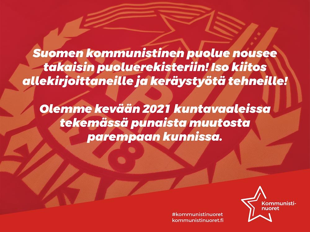 Bannerikuva: Suomen kommunistinen puolue nousee takaisin puoluerekisteriin.