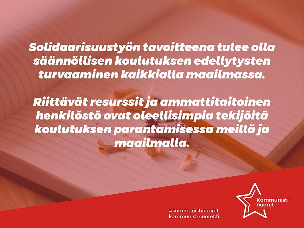 Bannerikuva: Kommunistinuoret ottaa kantaa kansainvälisenä koulutuksen päivänä.