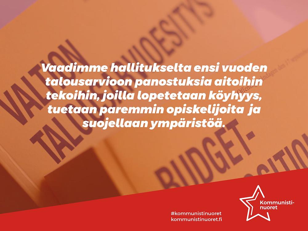 Banneri: Kommunistinuoret vaatii vuoden 2021 talousarvioon työväenluokkaisia panostuksia.