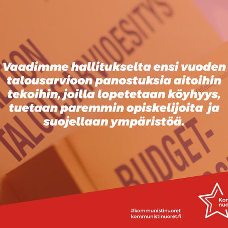 Rikkaat verolle ja hävittäjämiljardit muuhun käyttöön - työväenluokka etusijalle talousarviossa!