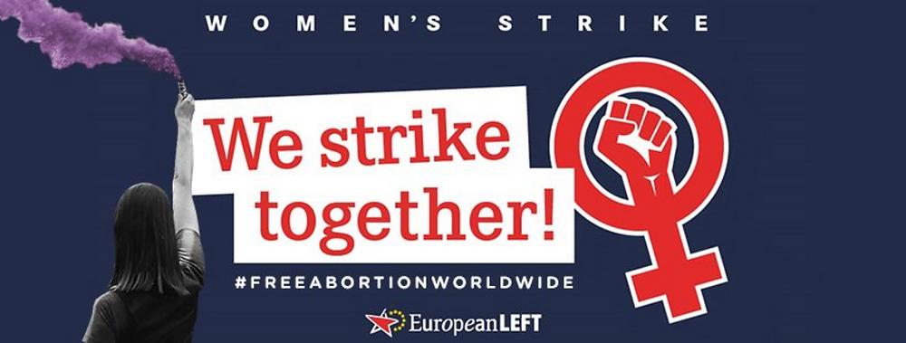 Kuvassa englanninkielinen teksti 'We strike together!'.
