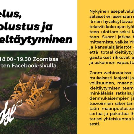 Asepalvelus, maanpuolustus ja aseistakieltäytyminen -webinaari 12.8.