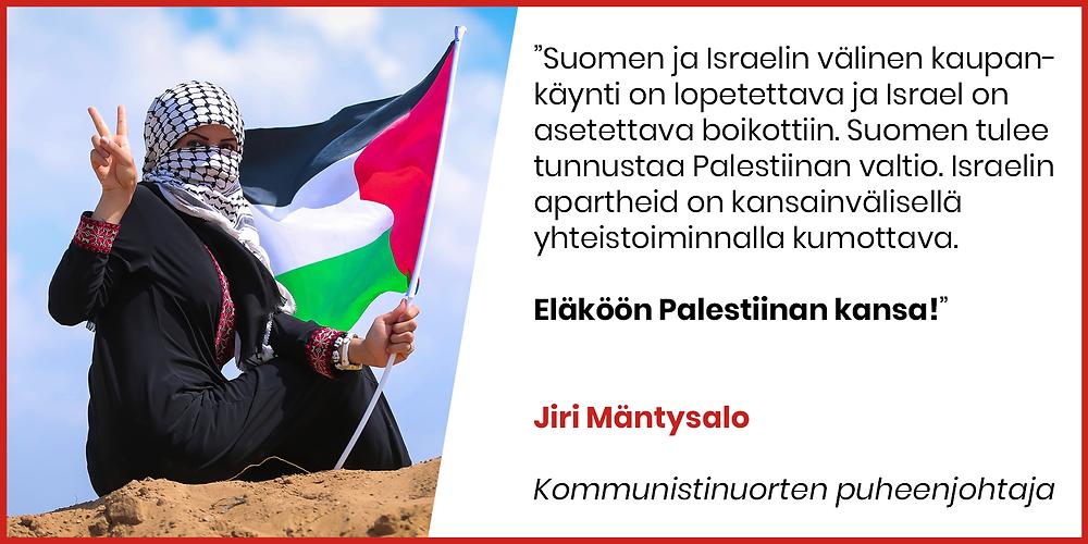 Jiri Mäntysalo tukee Palestiinan kansaa.