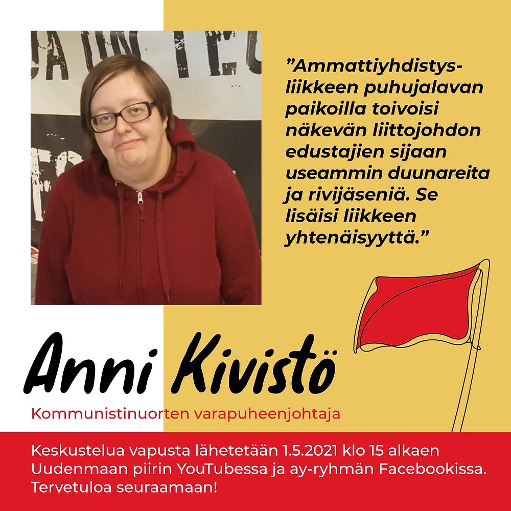 Kommunistinuorten varapuheenjohtaja Anni Kivistö puhuu SKP:n ay-ryhmän ja Uudenmaan piirin vappukeskustelussa.
