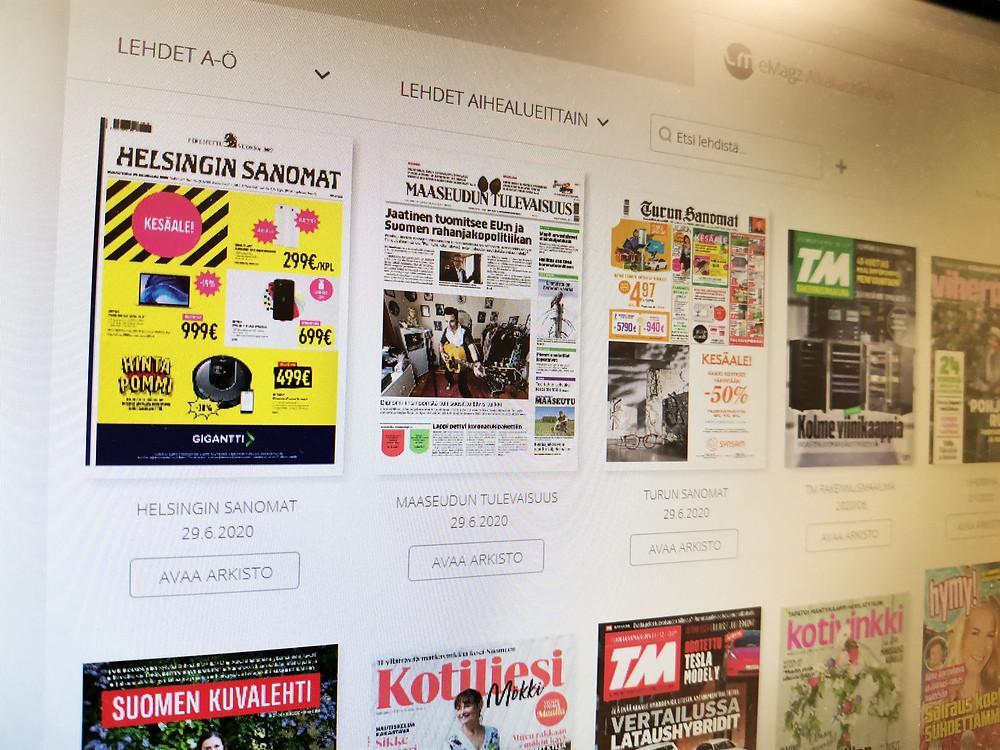 Helsingin Sanomia, Turun Sanomia ja Maaseudun Tulevaisuutta ei ole enää mahdollista lukea Satakirjastojen eMagz-palvelussa.