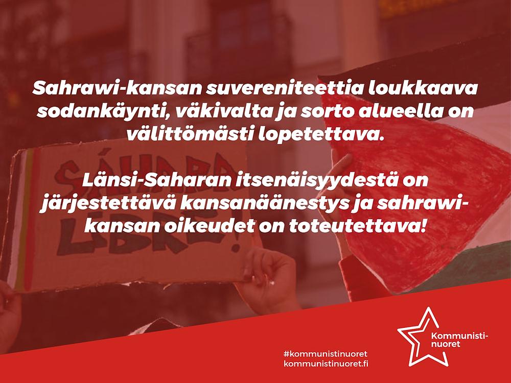 Bannerikuva: Kommunistinuoret vaatii oikeutta Länsi-Saharan sahrawi-kansalle.