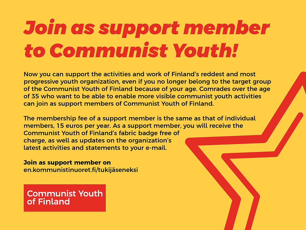 Banner of Communist Youth of Finland's support member campaign.
