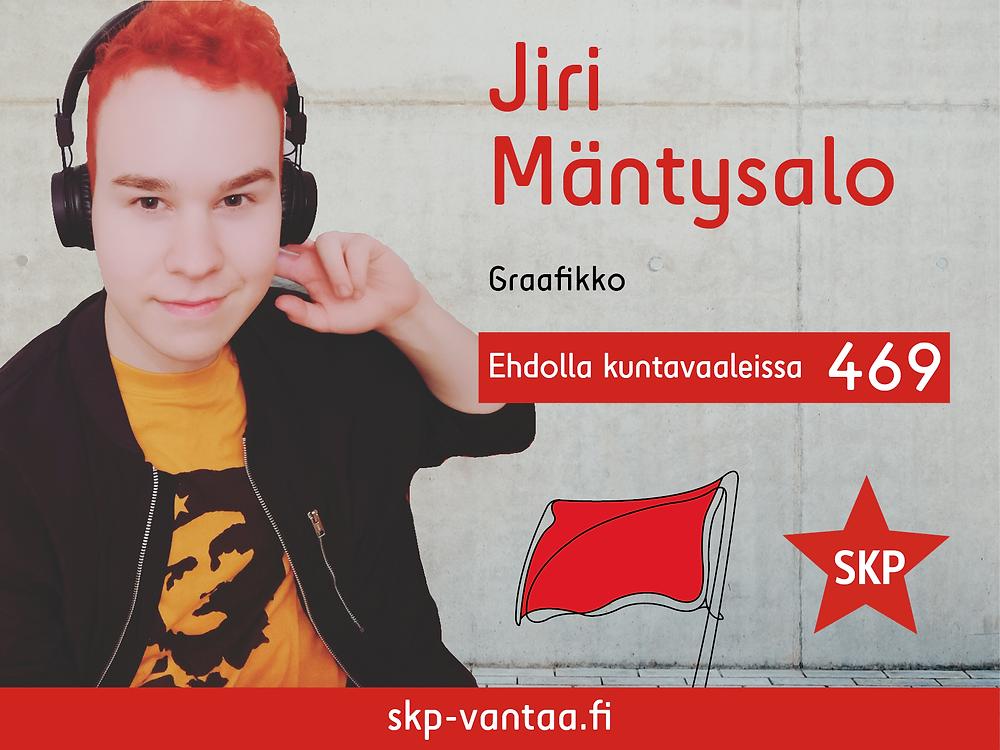 Jiri Mäntysalon ehdokasmainos numerolla kuntavaaleissa 2021.