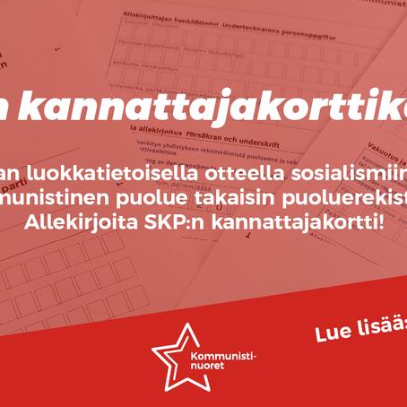 Kansanvaltainen vaihtoehto myös vaaleissa - SKP takaisin puoluerekisteriin!