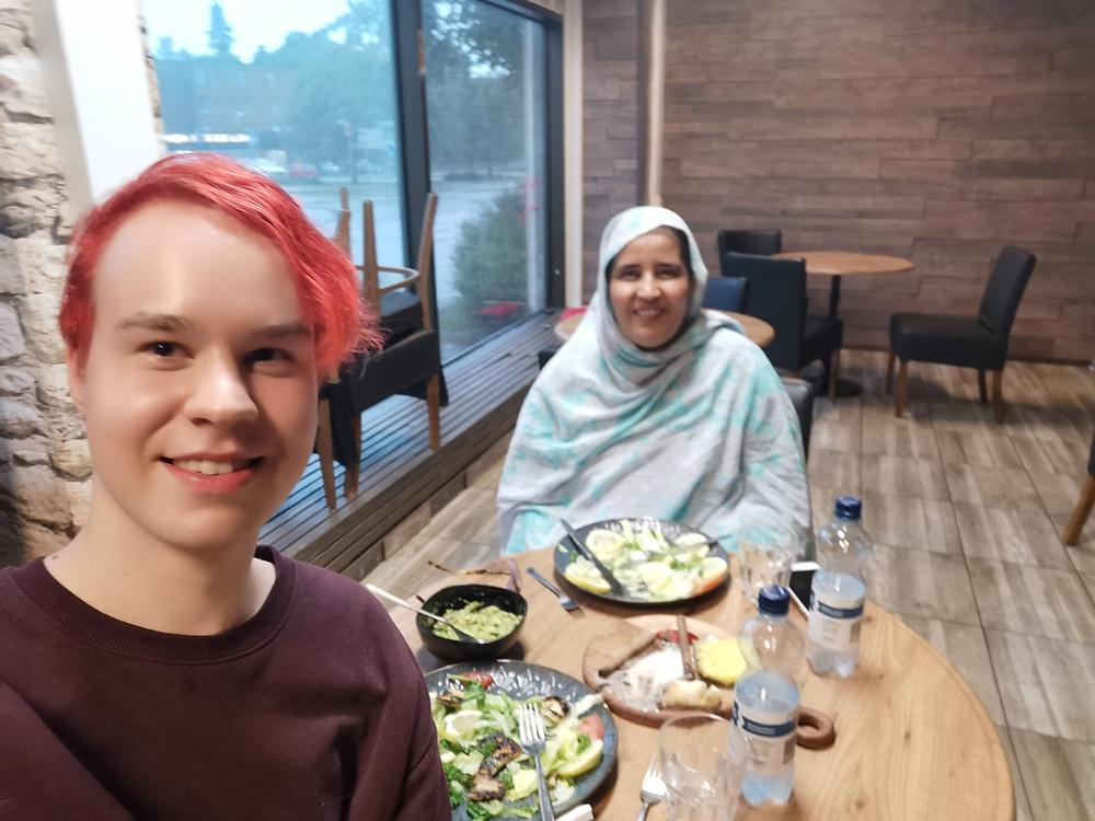 Jiri Mäntysalo, Chairperson of Communist Youth of Finland, and Baida Rahal, Polisario's representative in Finland, met in Helsinki on 23rd June.