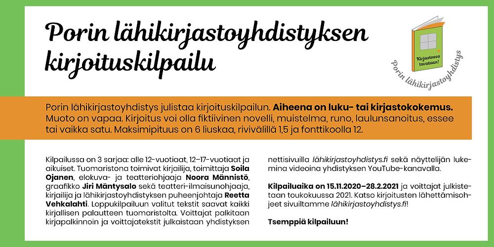 Bannerikuva: Porin lähikirjastoyhdistyksen kirjoituskilpailu käynnistyy.