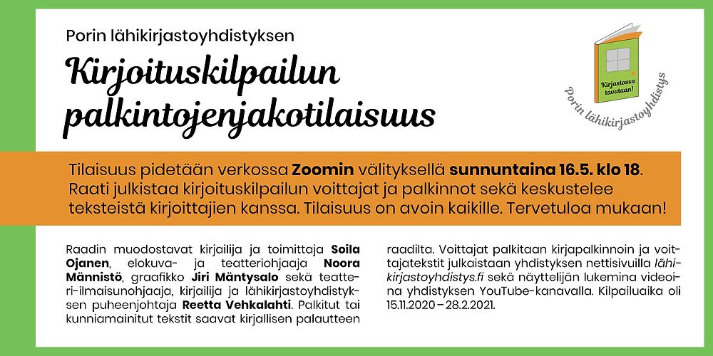 Porin lähikirjastoyhdistyksen kirjoituskilpailun palkintojenjakotilaisuuden mainos.