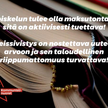 #EiAutaMarkkinavoimat: Maksutonta koulutusta ja sivistystä tuettava!