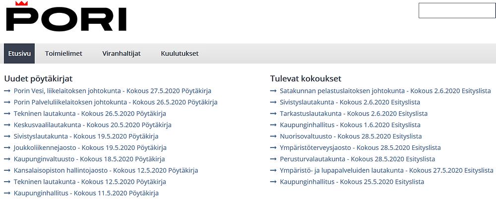 Kuvakaappaus muun muassa Porin kaupungin esityslistoja ja pöytäkirjoja sisältävältä pori.cloudnc.fi-sivustolta.