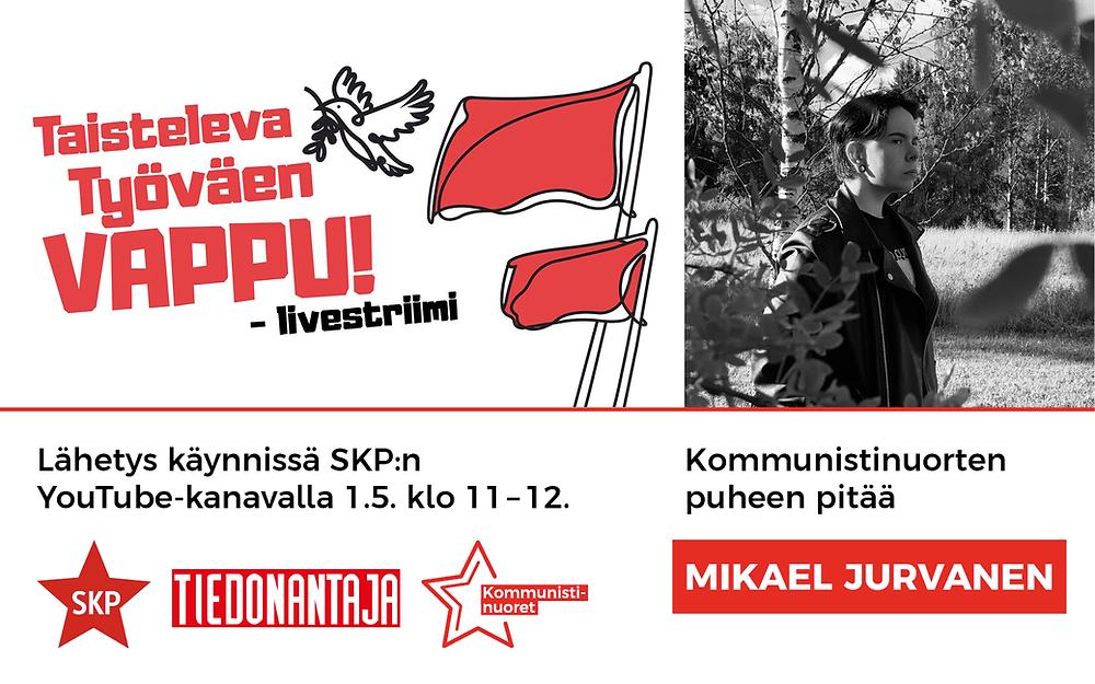 Kommunistinuorten Mikael Jurvanen pitää nuorten puheen Taistelevan Työväen Vappustriimissä 1.5.2021.