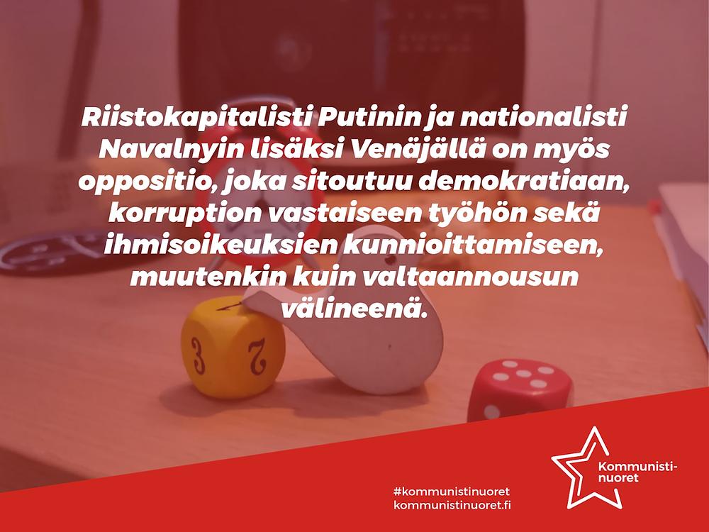 Bannerikuva: Kommunistinuoret kertoo, että Venäjällä on Putinin ja Navalnyin lisäksi myös aidosti demokratiaan sitoutunut oppositio.