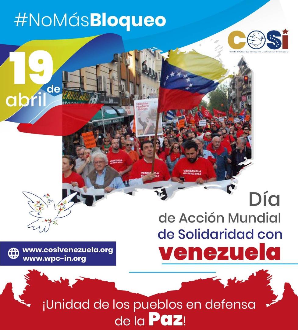 Juliste Maailman rauhanneuvoston (WPC) ja Venezuelan kansainvälisen solidaarisuuskomitean (COSI) aloitteesta.