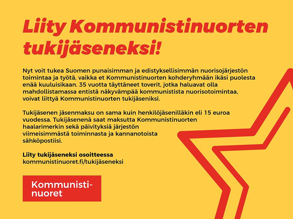 Kommunistinuorten tukijäsenyyksien hankintakampanjan banneri.