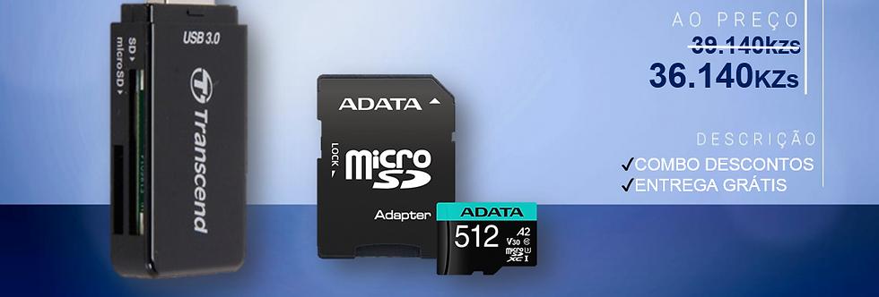 Leitor de Cartões-USB+ Cartão de Memória 512GB