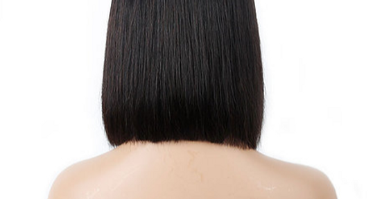 Peruca front lace curta cabelo brasileiro com fechamento em onda 180% densidade
