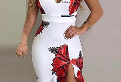 Vestido com estampa floral e babados LZR2207