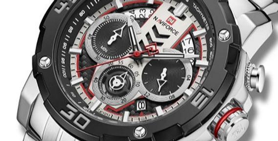 Relógio Desportivo de Luxo para Homem NAVIFORCE 9175 - Prata Preto