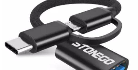 Adptador USB para OTG Micro USB e Tipo C Preto