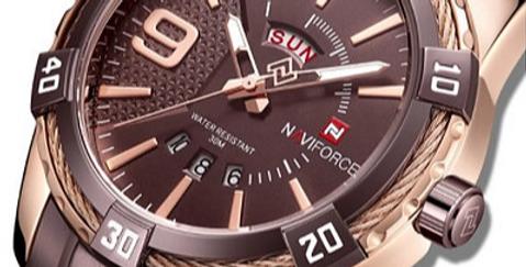 Relógio Desportivo de Luxo para Homem NAVIFORCE 9117S - Castanho Ouro