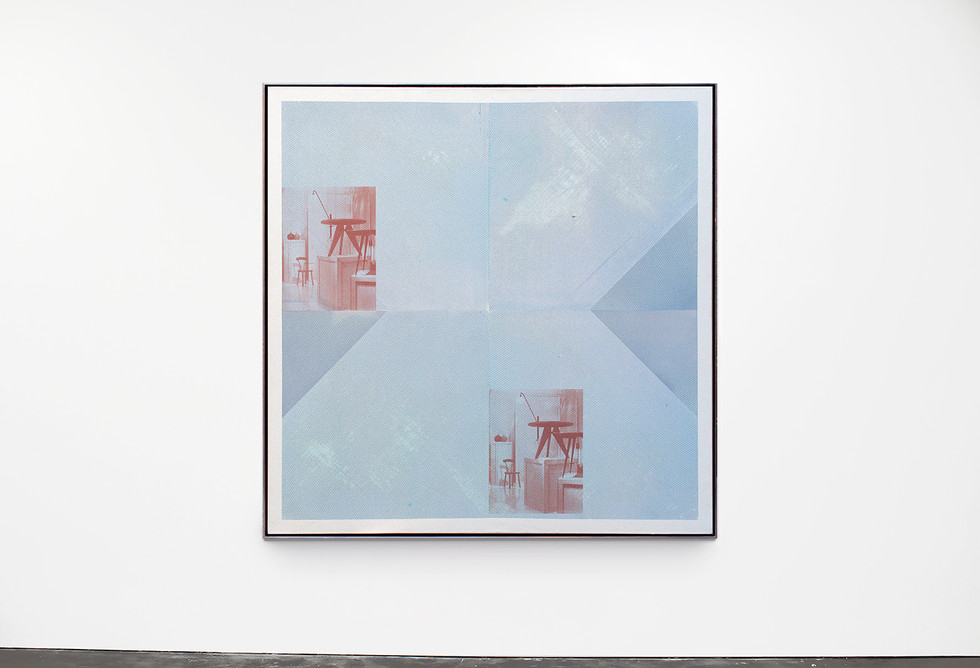 Untitled (cyan, silver, and furniture), 2012