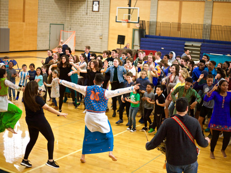 Indian Assembly Leaves Community Dancing