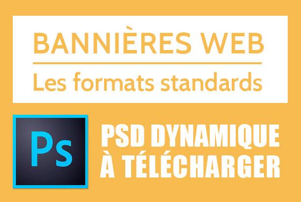 Bannières Web : formats standards de bannières en Plan de travail PSD à télécharger