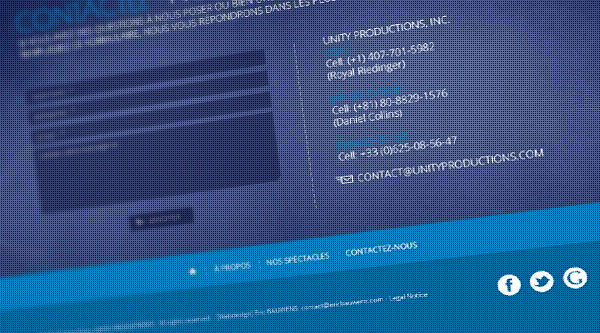 Unity Productions - web design