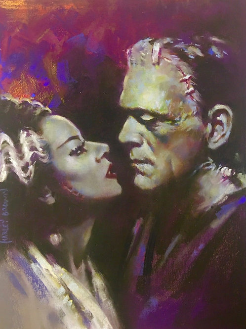 """Original Pastel- """"MONSTER AND WOMAN"""" aka Frank and Mary Stein"""