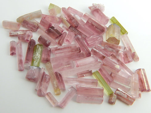 Mixed Parcel Pink/Green Tourmaline Rough & Crystals 28.7 Grams (#56)