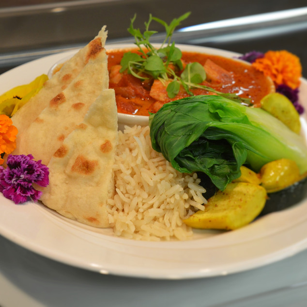 Picture of a plated dish: pita bread with rice, vegetable and tomato sauce