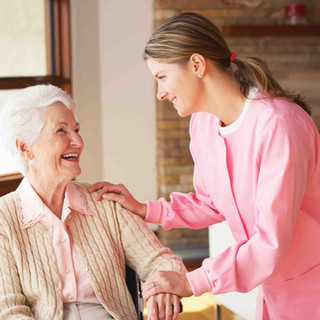 Nurse assisting a resident