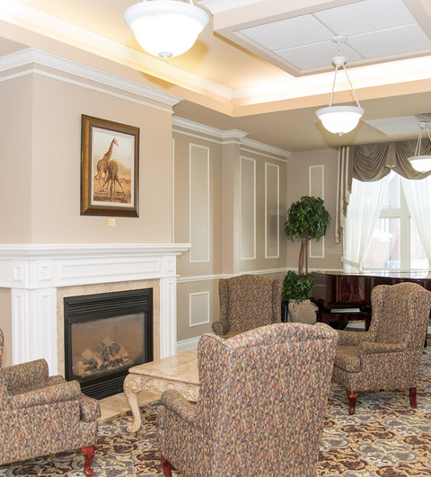 Piano and Fireplace Lounge Area