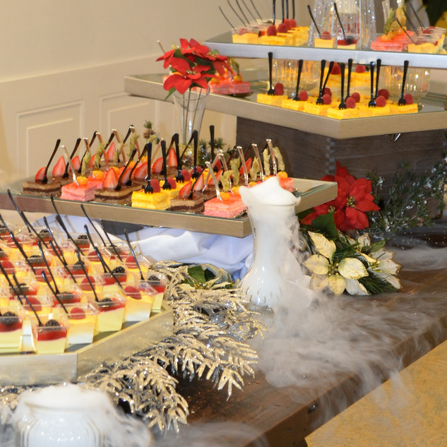 Desserts on buffet table