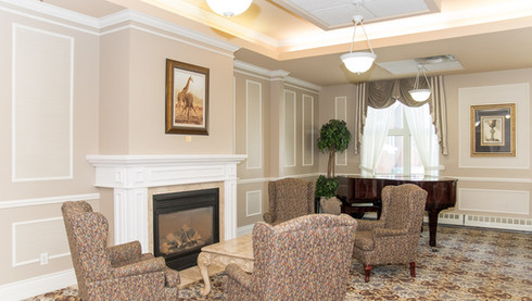 Piano lounge area for residents at Govnerors Walk