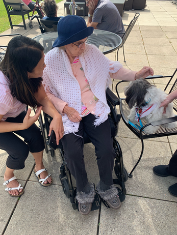 Greenview Resident Petting a Dog