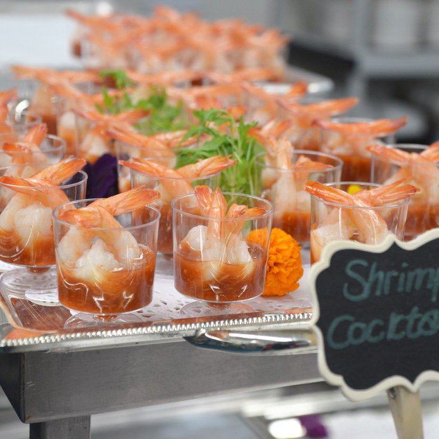 Shrimp appetizer plated in cups