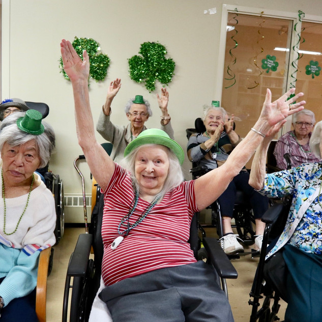 Greenview St.Patrick's Day. Residents posing for picture.