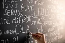 Tafel mit verschiedenen Sprachen