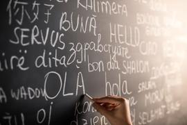 Pizarra con diferentes idiomas